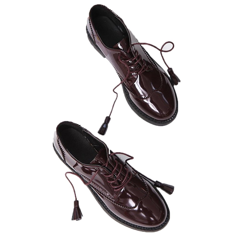 Women Oxford Flats Brogue Shoes Fashion Tassel Lace Up Patent Leater Shoe by Luobote