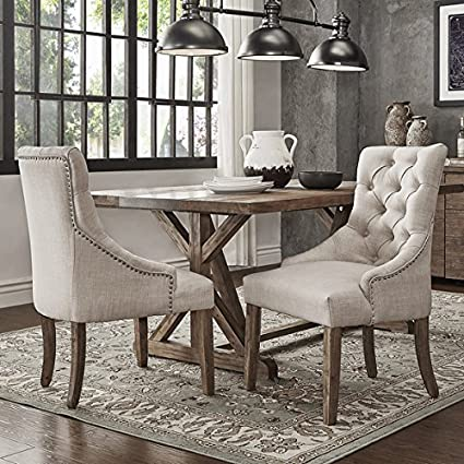 SIGNAL HILLS Benchwright Button Tufts Wingback Hostess Chairs (Set Of 2)  (Beige Linen