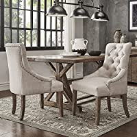 SIGNAL HILLS Benchwright Button Tufts Wingback Hostess Chairs (Set of 2) (Beige Linen)