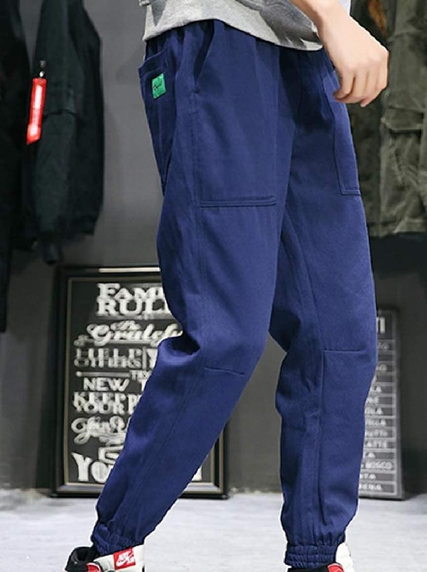RDHOPE-Men Solid Pockets Slim-Tapered Tactical Ripstop Combat Trousers