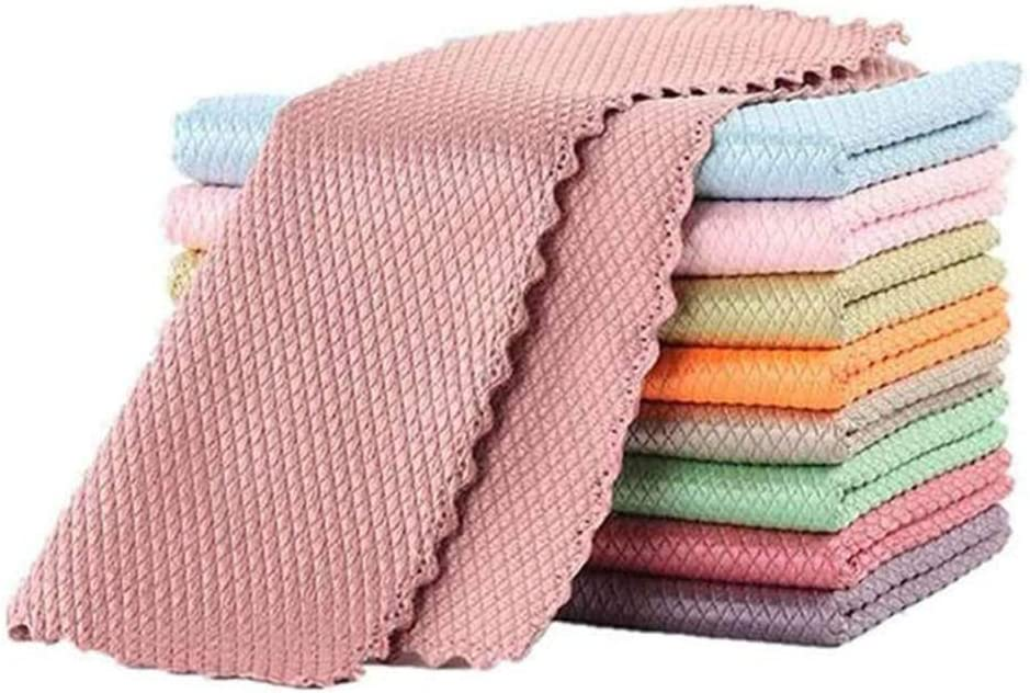 Fish Scale Microfiber Wipes, Super-Absorbent Wave-Like Fish Scale Wipes Without Traces, Used to Clean The Kitchen, Glass, Wire Mesh-10PCS (11.815.8in)
