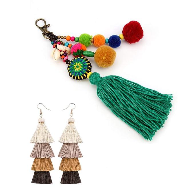 Amazon.com: Hixixi - Juego de llaveros y borlas con pompones ...