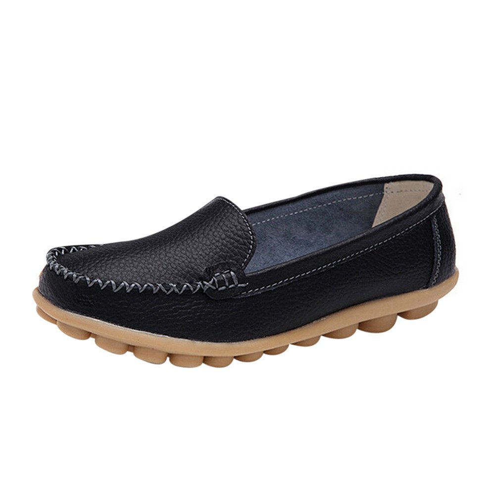 ♡QueenBB♡ Women's Leather Loafers Flats Casual Round Toe Moccasins Wild Breathable Driving Shoes Black
