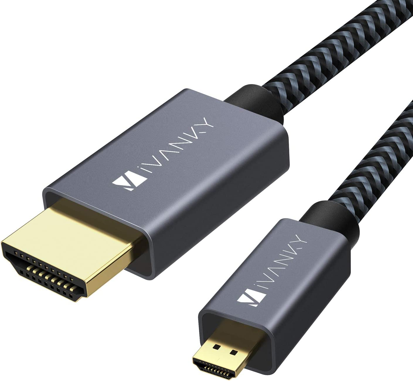 iVANKY Cable Micro HDMI a HDMI, 3D 4K Alta Velocidad con HDR, UHD, HDCP, Audio Return Channel, HDMI Ethernet Channel, Dolby TrueHD- 1 Metro