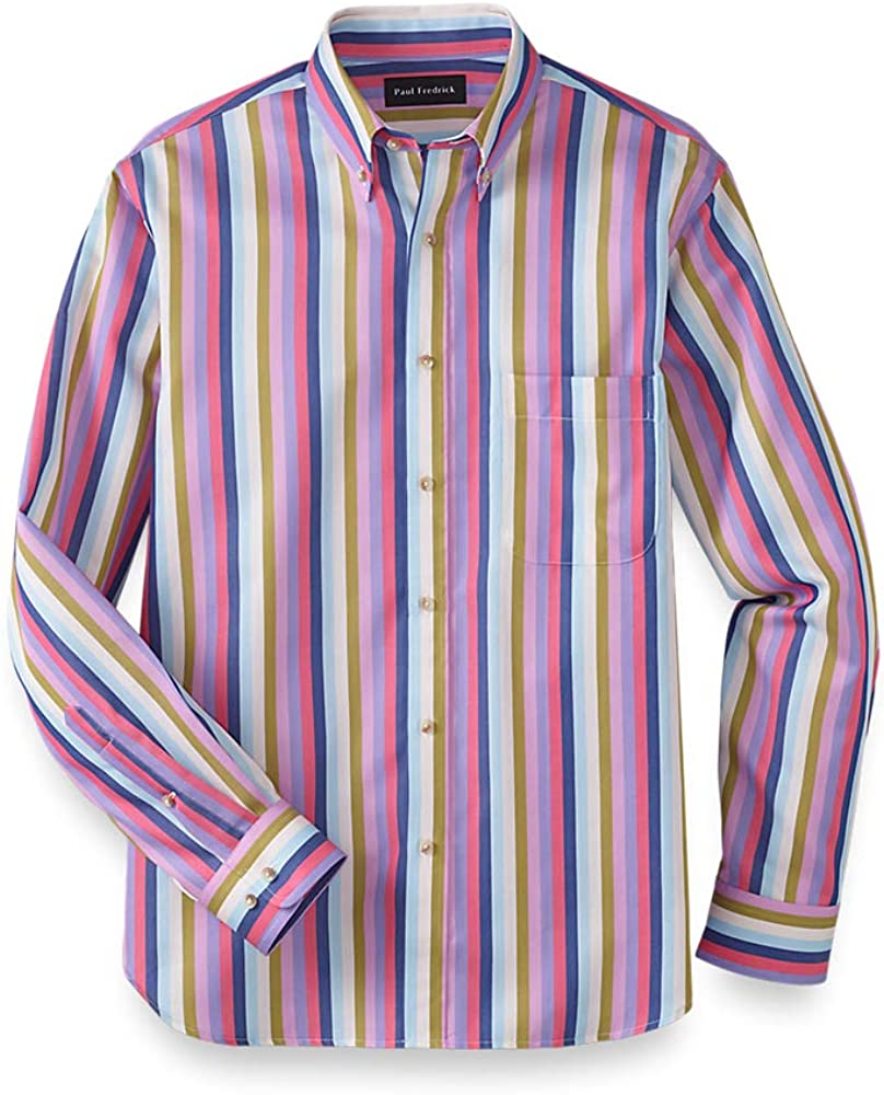 1960s – 70s Mens Shirts- Disco Shirts, Hippie Shirts Paul Fredrick Mens Classic Fit Cotton Stripe Casual Shirt $49.98 AT vintagedancer.com