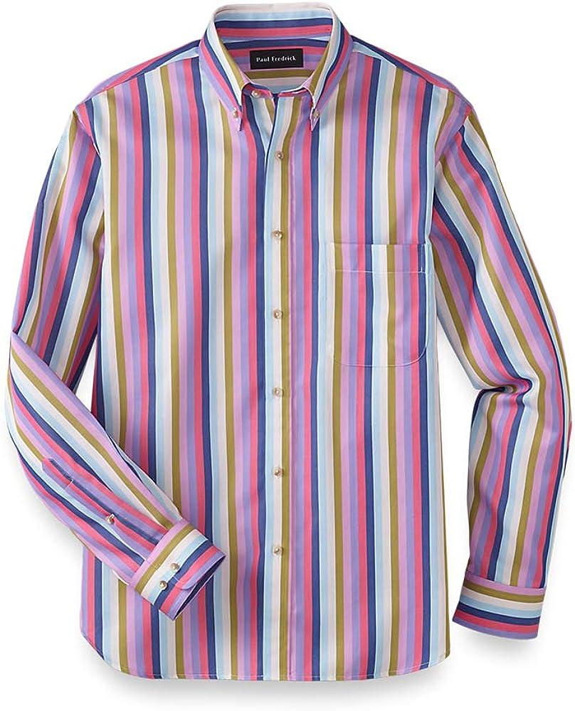 Mens Vintage Shirts – Retro Shirts Paul Fredrick Mens Classic Fit Cotton Stripe Casual Shirt $49.98 AT vintagedancer.com