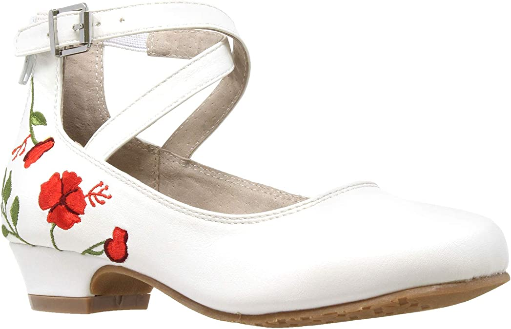 Girl/'s Dress Shoes Embroidered Butterfly Mary Jane Block Heels Leather Insole