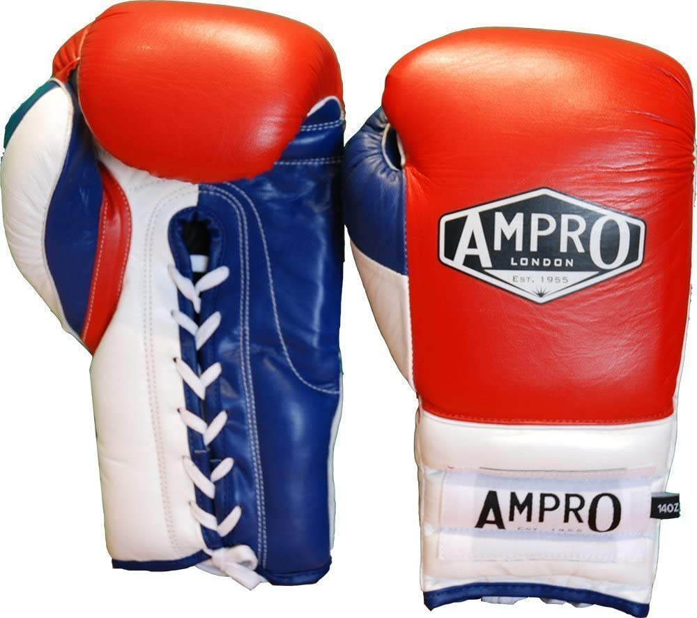 Red//White//Navy Ampro Mirage V2 Professional Lace Up Sparring Glove