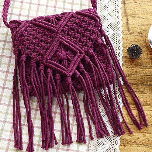 QIND 2018 Moda Playa Bohemia Borla Crossbody Bolso de Hombro Hecho a Mano Pajita Tejida Mujer Crochet Flinged Bolsa, Negro, 20 * 20 Rojo Ladrillo