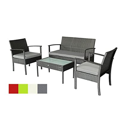 Oakside Small Patio Furniture Set Outdoor Wicker Porch Furniture Loveseat And Chairs With Extra Cushion Covers For Replacement Grey