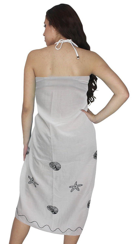 La Leela Seestern Rayon weiß 5 in einem Bademode / Badeanzug vertuschen / Tunika / sundress / Bikini Schlitz Rock / Damen Pareo / plus Größe Badeanzug Sarong langes Kleid 182x108 cm wickeln