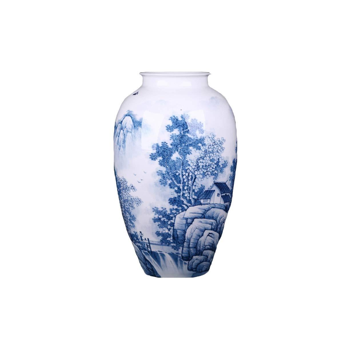 SHENGSHIHUIZHONG 花瓶の飾り、景徳鎮の陶磁器の飾り、山の中の青と白の磁器の花瓶、新しい中国の家庭用居間のフラワーアレンジメントの飾り、ギフト用の飾り、 中華風 (PATTERN : B) B07SWY1CPV  B