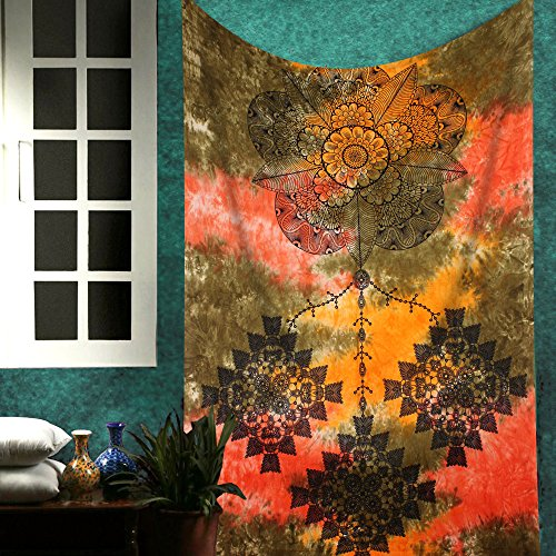 The Indian Craft Modern Art Dreamcatcher Tapestry - Oriental Bohemian Wall Hanging Hippie Bedroom Decor Boho Wall Decoration Trippy Tapestries - Multicolour - 84 x 54 Inches ()
