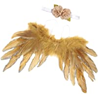 kesoto Baby Girl Angel Wing Feather and Flower Headband Set Infant Costume Baby Shower - Gold, as described