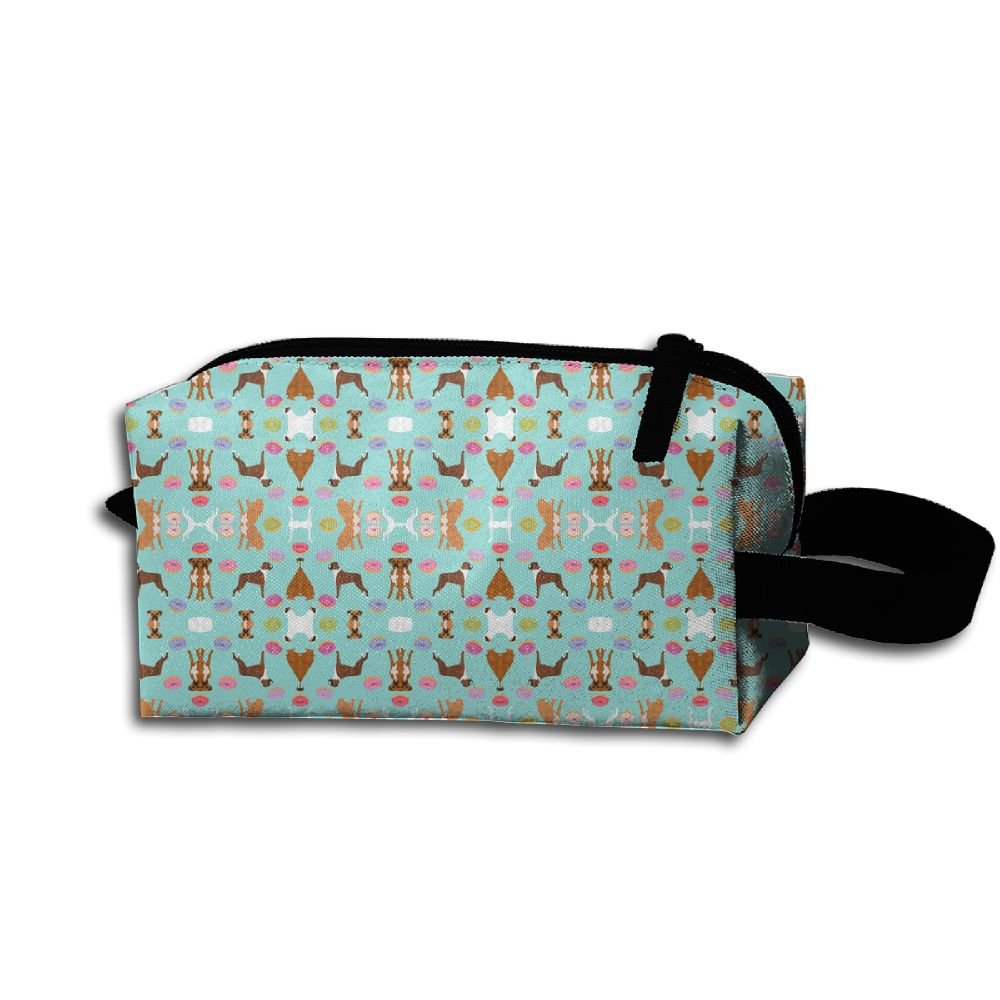 Hfoefgk Portable Travel Cosmetic Organizer Clutch Pouch Bag With Zipper Closure For Boxer Mixed Coats Dog Breed Doughnuts Fabri(2694) Flower Print