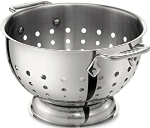 All-Clad 5605C Stainless Steel Dishwasher Safe Colander Kitchen Accessory, 5-Quart, Silver