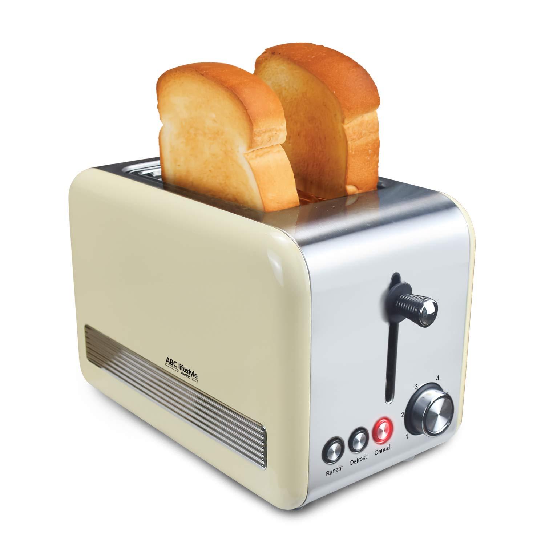 cremefarbiger retro design toaster mit zwei scheiben