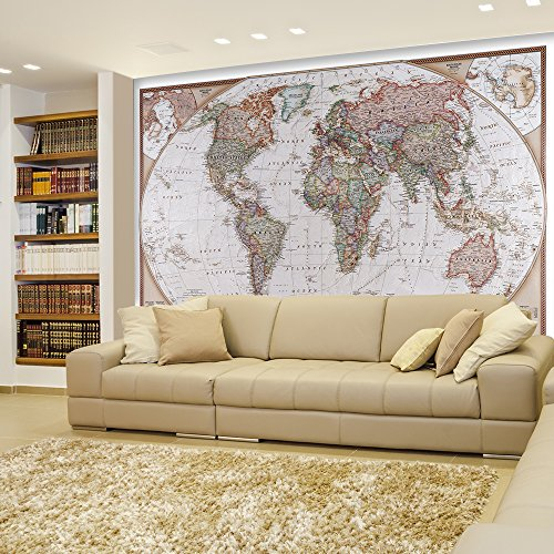 Wall26 Antique Political Mollweide Map Projection Of The Earth Full Color Complete With Visible Relief Wall Mural Removable Sticker Home Decor