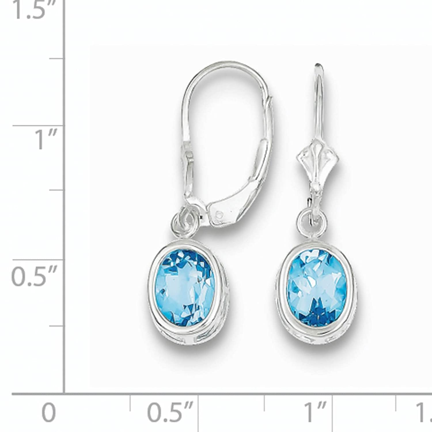 925 Sterling Silver Rhodium-plated 8x6mm Oval Blue Topaz December Stone Leverback Dangle Earrings