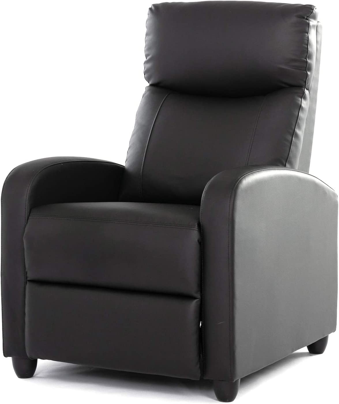 Rimiking Living Room PU Leather Adjustable Single Recliner Sofa Home Theater Seating Reading Chair for Bedroom, Black