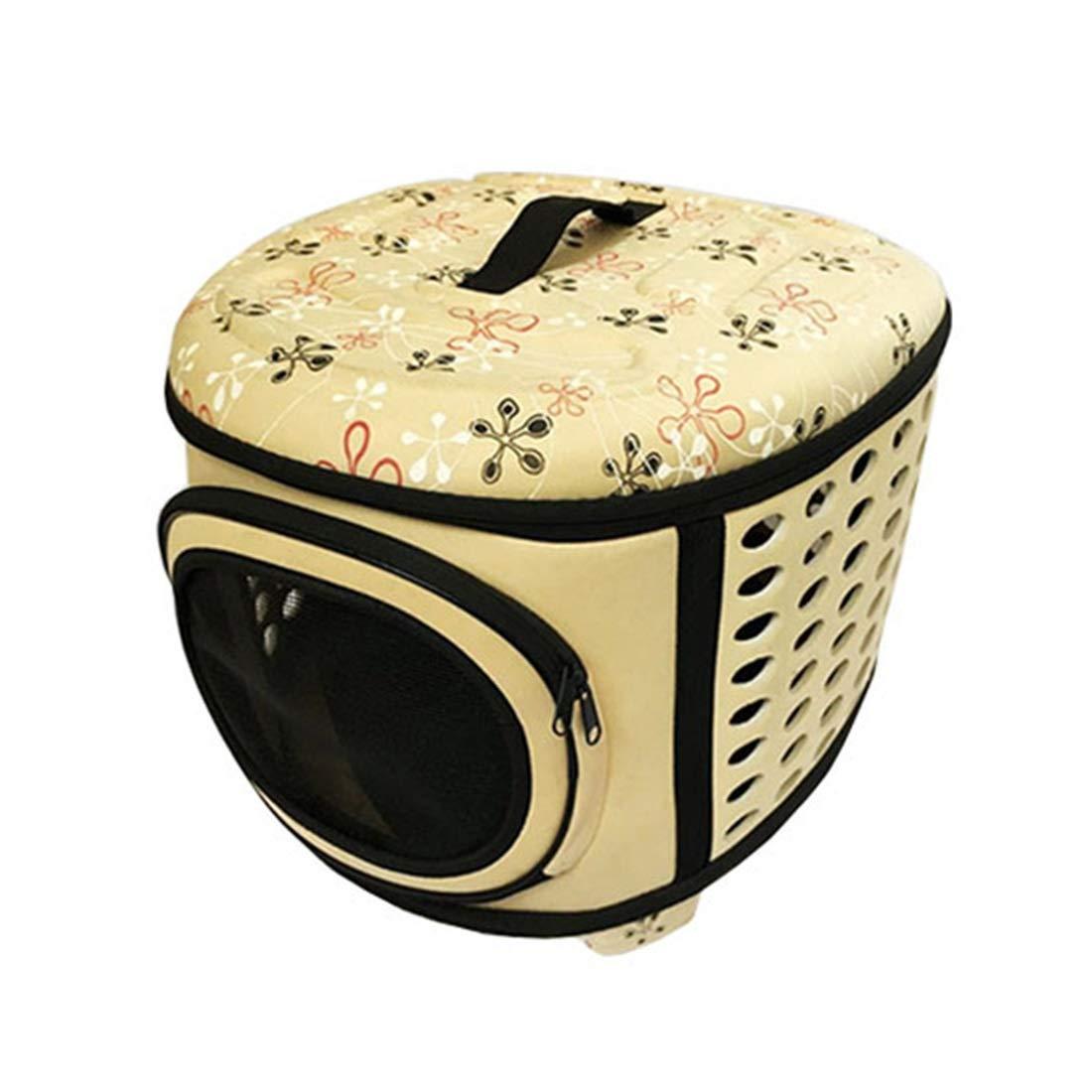 Beige Small Beige Small KERVINJESSIE Pet Bag Portable Cat Bag Foldable Pet Bag Outing Backpack Dog Cat Bag (color   Beige, Size   S)