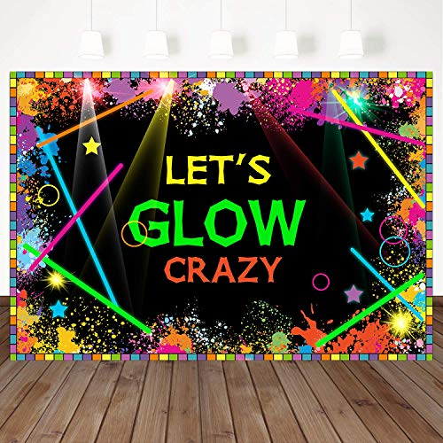 Mehofoto Let's Glow Backdrops Glow in The Dark Birthday Party Banner Decoration 7x5ft Vinyl Laser Neon Splatter Paint Photo Booth Backdrops -