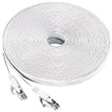 Ethernet Cable, 50Ft Cat6 Slim RJ45 Flat Network Cable with Cable Clips, Higher Speed than Cat5e Cat5 Computer Cable for Computer Laptop/ Desktop Switch/ MAC Laptop - 15 Meters White