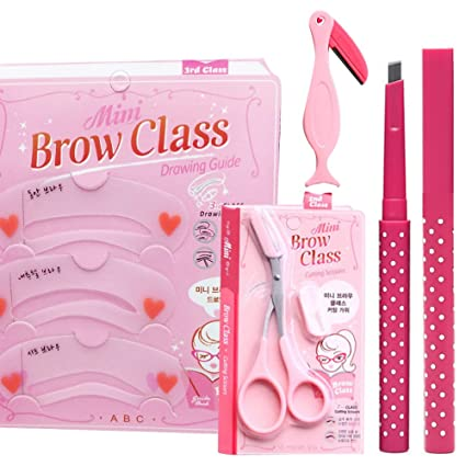 nicebuty 1 Set 4 en 1 plantillas para cejas, para plantillas de Sourcil herramientas de belleza maquillaje DIY # tijeras cejas cejas + cuchillo + ...