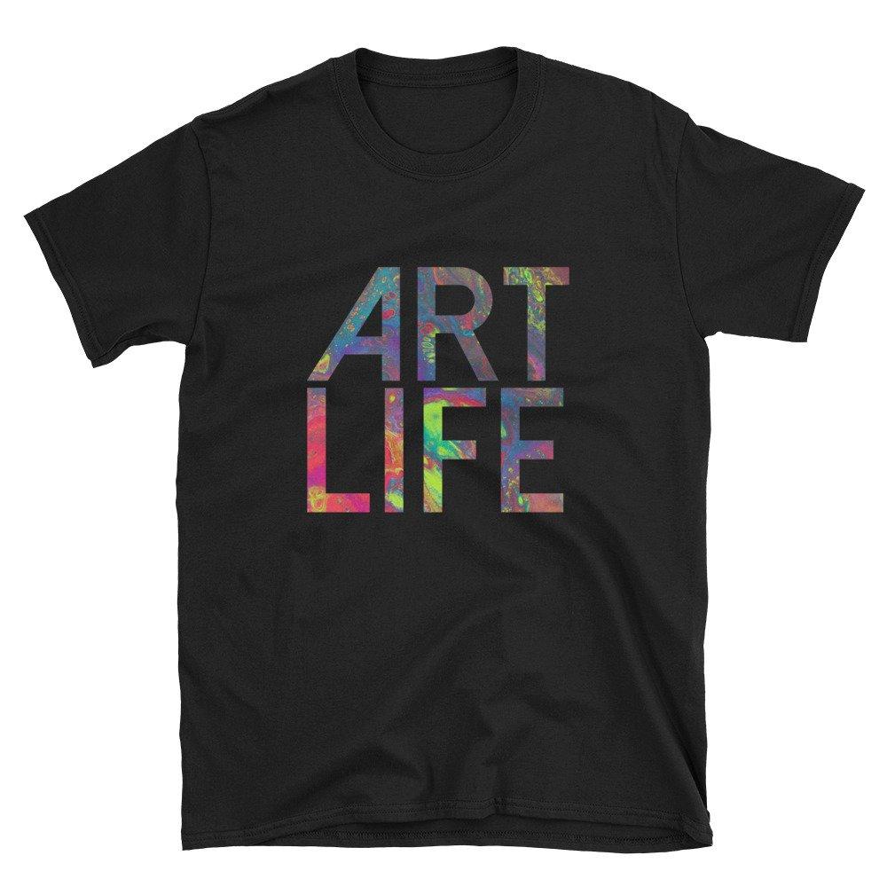 Artist Gift Unisex Size Art Teacher Shirt Art Life Rainbow Multi-Color Abstract Print Short-Sleeve T-Shirt