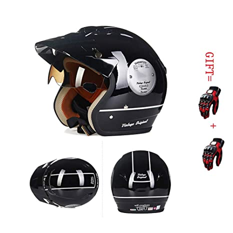 A-TSWB Retro Open Face Motorcycle Collision Half Helmet ...