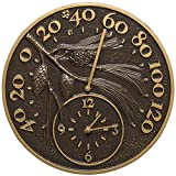 SKB family Outdoor Thermometer and Clock - Pinecone, 14'' x 14'' x 1.25'' x 8 lbs, French Bronze