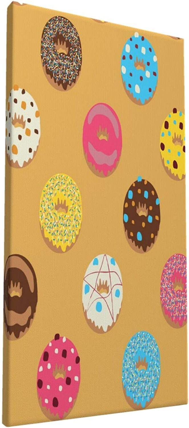 Chocolate Donuts Cartoon Cute Funny Food Canvas Prints Wall Art Paintings Abstract Geometry Wall Artworks Pictures for Living Room Bedroom Decoration, 8x16in