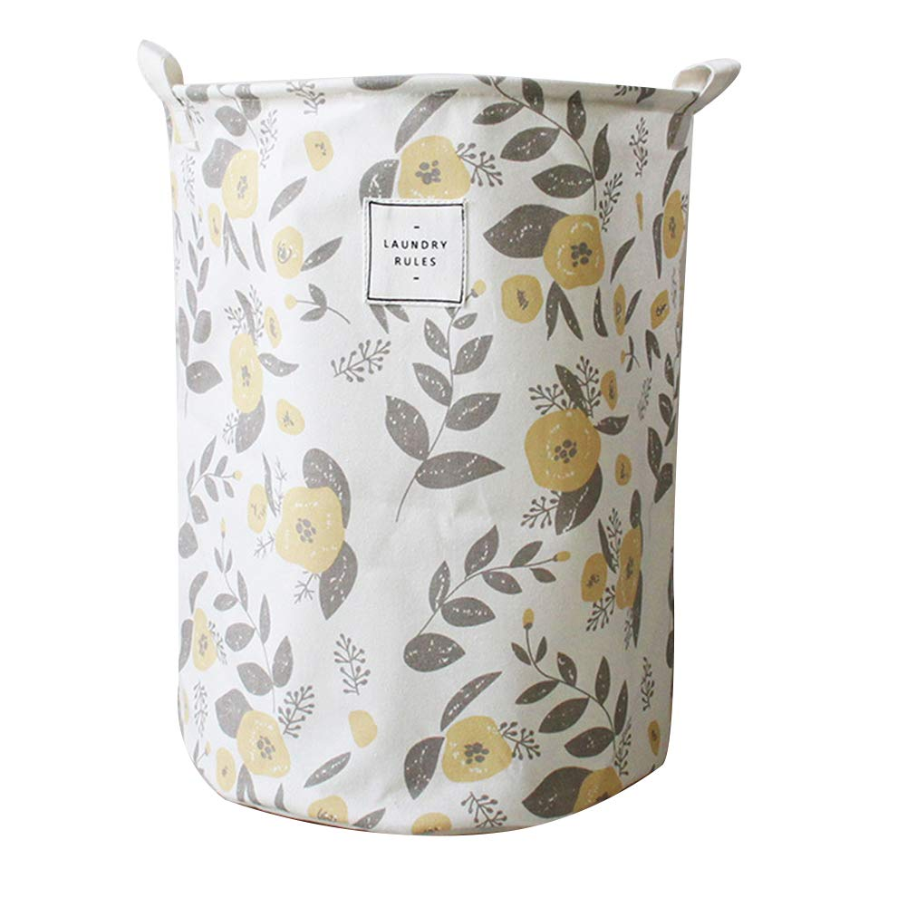 Wakerda Canvas Storage Basket - Large Storage Bin with Handles - Colorful Printing Storage Containers in Yellow