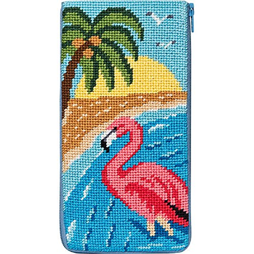 Glass Needlepoint Kit - Eyeglass Case - Flamingo - Needlepoint Kit