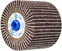 "PFERD 46789 POLINOX PNZ Non-Woven Abrasive Finishing Drum, Aluminum Oxide A, 5"" Diameter x 4"" Width, 5/8-11 Thread, 3100 Maximum RPM, 60 Grit"