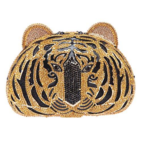 Clutch Tiger (Fawziya Tiger Purse For Women Luxury Rhinestone Clutch Evening Bag-Black)
