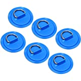 "TOBWOLF 6 Pack 3.15"" / 8cm Stainless Steel D-Ring Patch for Inflatable Boat Kayak Dinghy SUP, Circular D-Ring PVC Patch Stand"