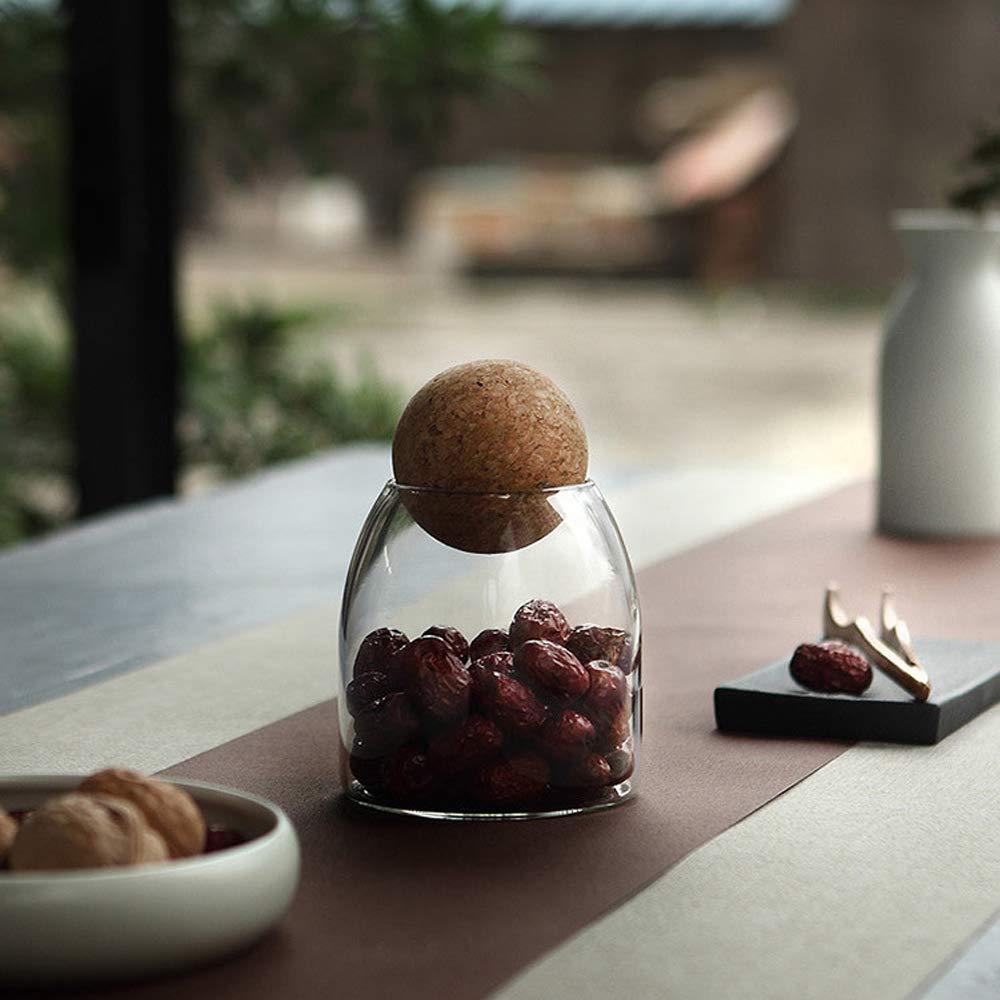 Barattolo di vetro con chiusura ermetica Palla con coperchio in legno Contenitori di stoccaggio in stile tradizionale in vaso dolce Ideale per t/è caff/è dolci e altro Transparent - Large