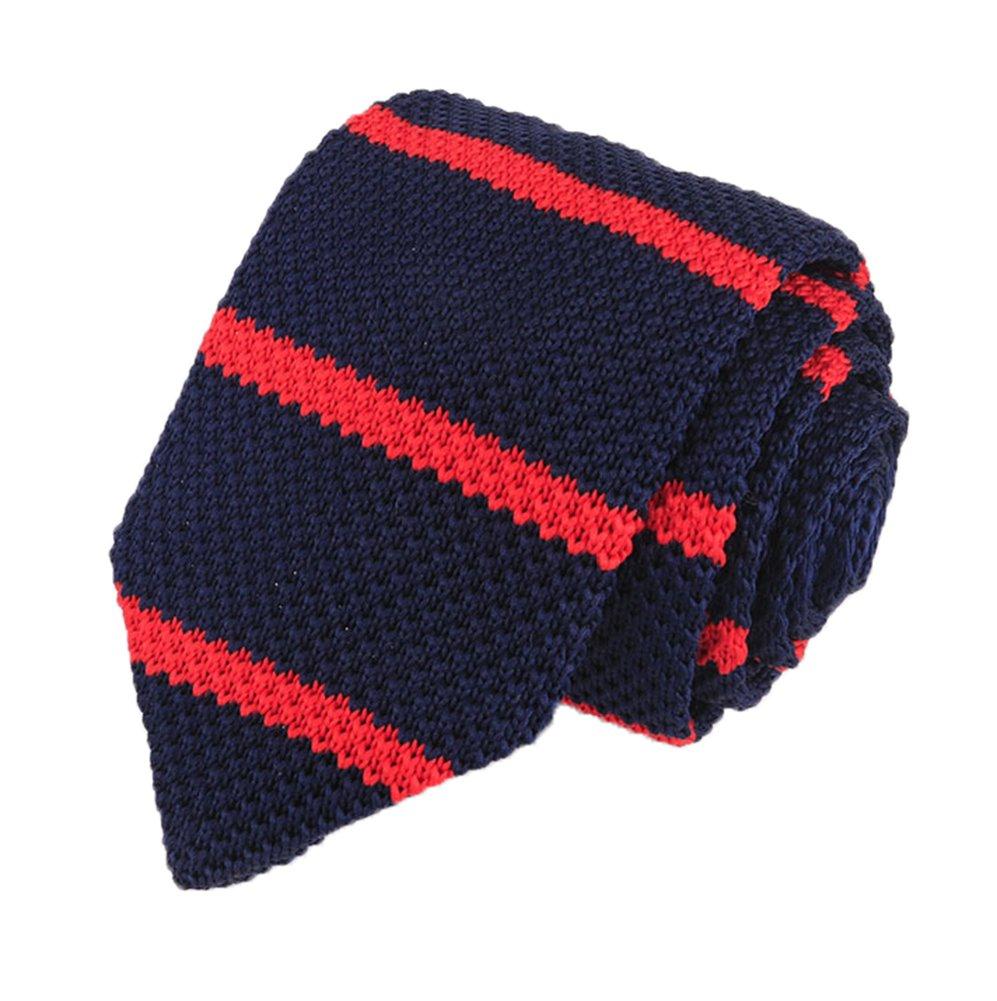 Men's Navy Blue Red Wide Stripe Jacquard Silk Ties Vintage Knit Designed Necktie