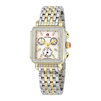 Michele Women S Mww06p000108 Deco Analog Display Swiss Quartz Two Tone Watch