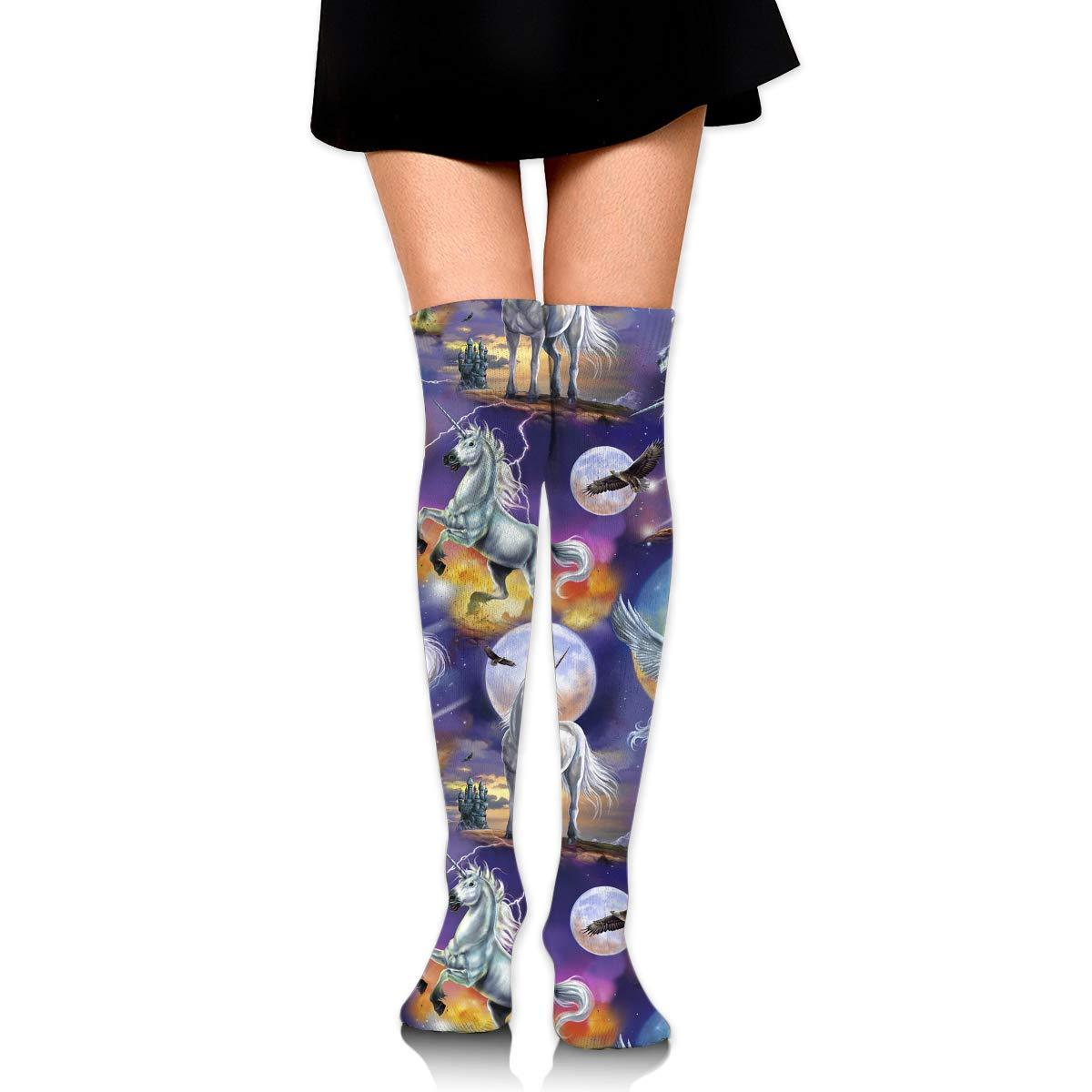 High Elasticity Girl Cotton Knee High Socks Uniform Moon Unicorn Women Tube Socks
