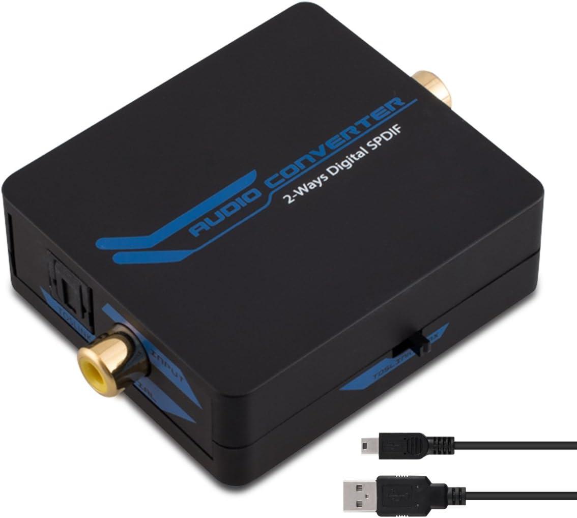 AMANKA Coaxial a /Óptico Toslink SPDIF Convertidor Audio Digital 2-Way Audio Adaptador Convertidor Soporte DTS//Dolby-AC3 con Cable USB para PS4 Receptor de Sat/élite Xbox BLU-Ray HD TV