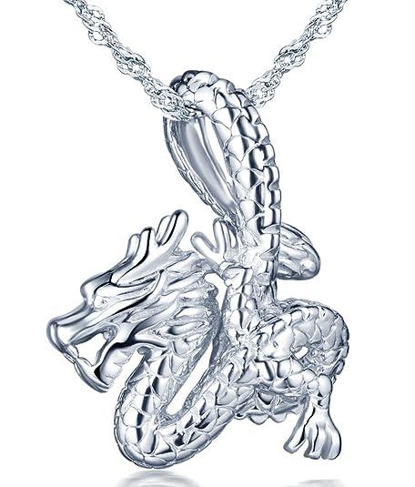 301019799241 Infinito U- Moda Cool Collares Mujer de Plata de ley 925 Colgante de Dragón  Collar para Mujeres Chicas con Cadena de 45 cm