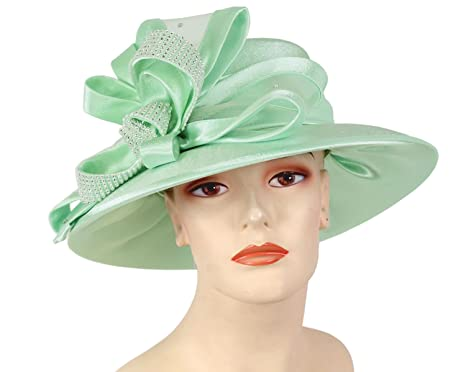 a67f7a227a9 Ms Divine Women s Satin Year Round Church Derby Hats Formal Dress Hats   HL64 (Jade