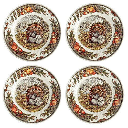 Queen's Myott Harvest Bounty Salad/Dessert Plate - Set of 4-8""