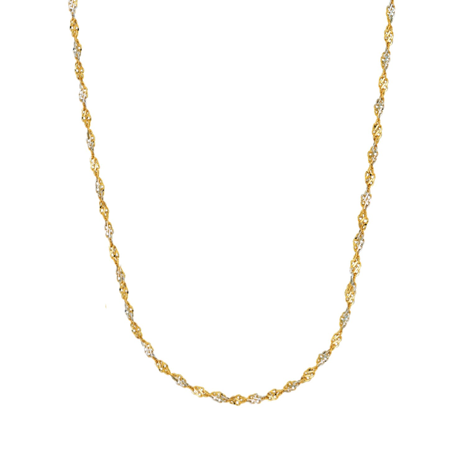 14k Gold Yellow and White Two Tone Singapore Chain Necklace 1.35 mm Ritastephens