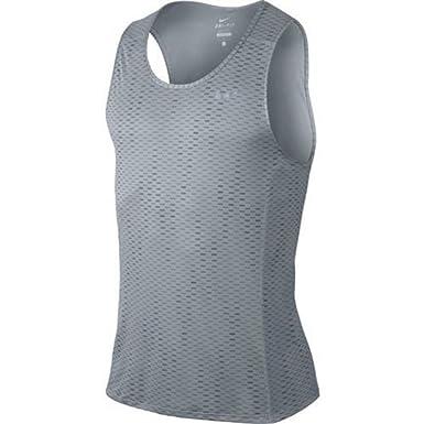 Nike Men's Dri-Fit Miler Fuse Running Tank Top Shirt Grey 849929 012 (s