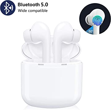 Amazon Com Wireless Bluetooth 5 0 Earbuds 16 Hours Tws Portable Touch Control Wireless Earphones Hands Free Mini Noise Cancelling In Ear Headphones With Mic And Charging Case For Iphone Android Samsung Home Audio