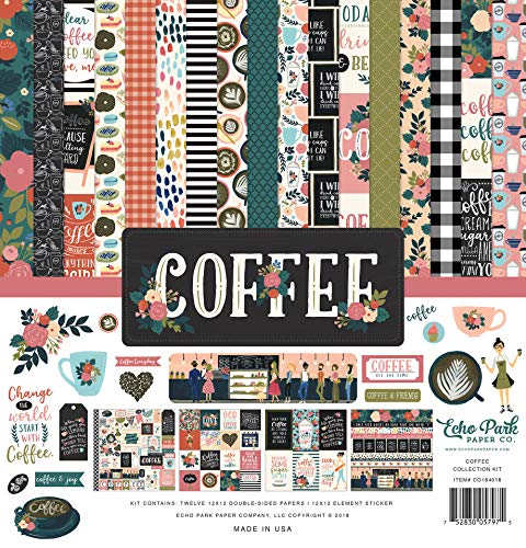 (Echo Park Paper Company CO164016 Coffee Collection Kit Paper, 12-x-12-Inch, Pink/Green/Red/Navy/Blue/Teal/Black)
