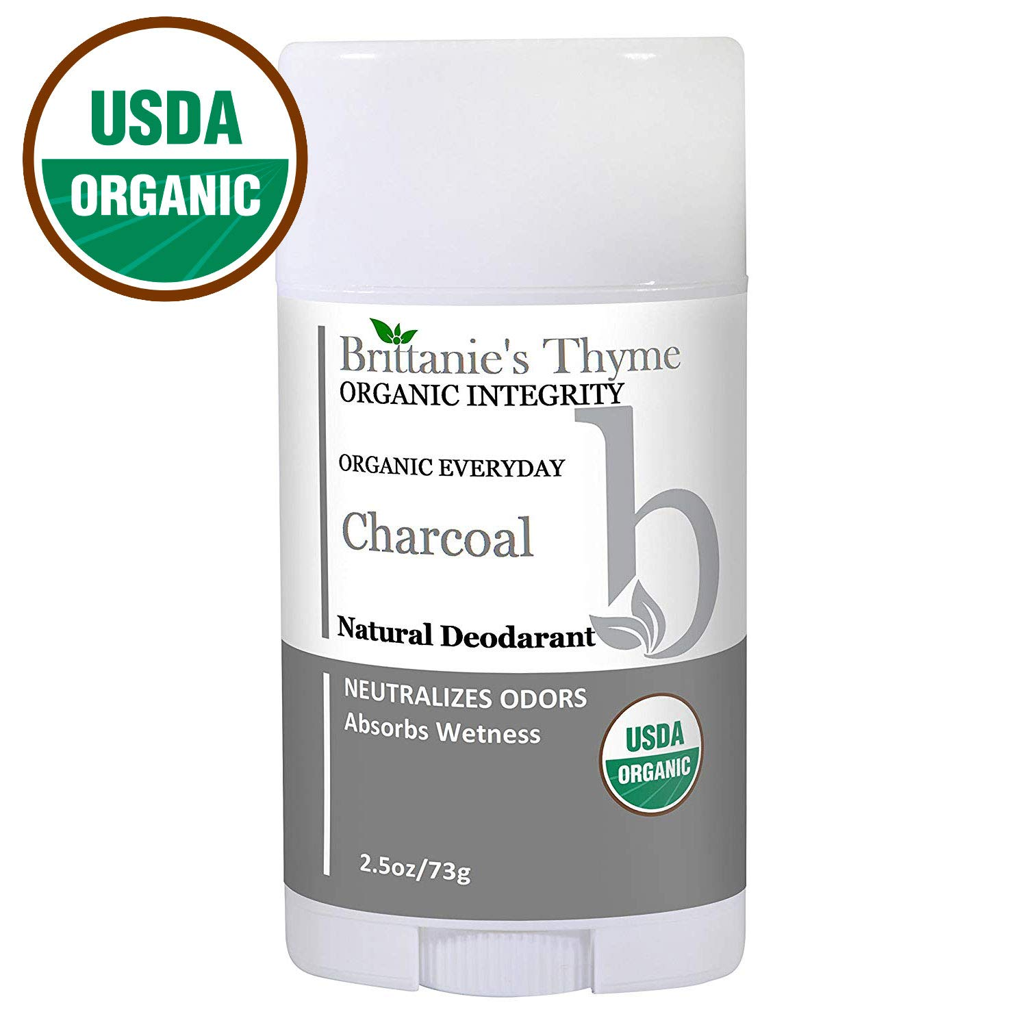 Organic Charcoal Deodorant - The Only USDA Certified Organic, Certified Gluten Free, Vegan, Cruelty Free for Men & Women